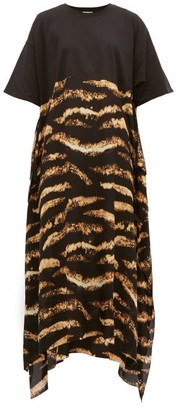 Raey Bleached Tiger-print Silk And Cotton T-shirt Dress - Womens - Black Print