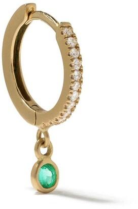 White Bird 18kt yellow gold Ada diamond and emerald single earring