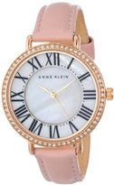 Anne Klein Women's AK/1616RGLP Watch with Swarovski Crystals and Leather Band