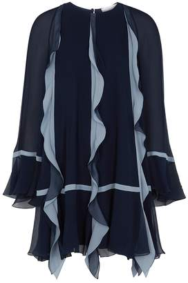 Chloé Navy Ruffle-trimmed Silk-georgette Mini Dress