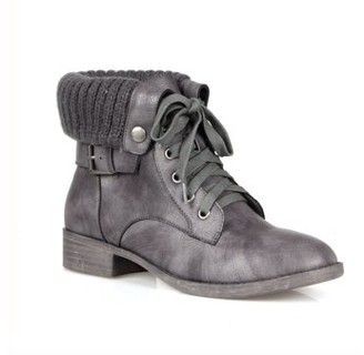 Mark & Maddux Mark and Maddux Fold Over Women's Combat Boots in Grey