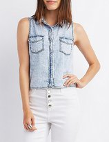Charlotte Russe Chambray Collared Crop Top