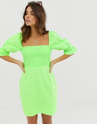 Asos Design DESIGN shirred off shoulder mini sundress in neon broderie-Green