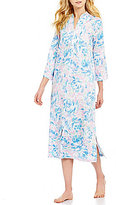 Miss Elaine Watercolor Floral Sateen Zip Robe