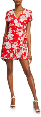 Yumi Kim Frill Seeker Floral-Print Short-Sleeve Wrap-Front Romper