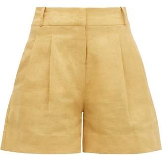 ASCENO The Madrid High-rise Slubbed-linen Shorts - Dark Yellow