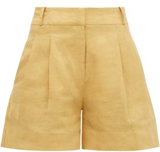 Asceno - The Madrid High-rise Slubbed-linen Shorts - Womens - Dark Yellow