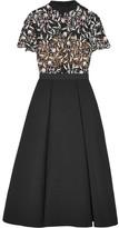 Self-Portrait Guipure Lace And Crepe Dress - Black