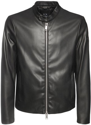 Armani Exchange Faux Leather Biker Jacket