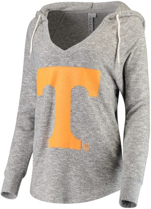 Women's chicka-d Heathered Gray Tennessee Volunteers Supersoft Cozy Fleece V-Neck Pullover Hoodie