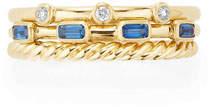David Yurman Novella 18k Three-Row Ring w/ Sapphires & Diamonds, Size 5