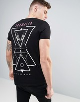 Asos Longline T-Shirt With Roll Sleeve And Geo Skull Back Print