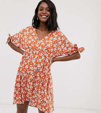 ASOS DESIGN Maternity smock wrap mini dress with tie sleeves in ditsy floral print