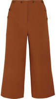 Tibi Sailor Nerd Cropped Stretch-crepe Wide-leg Pants - Brown
