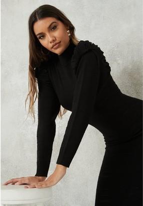 Missguided Textured Puff Sleeve Midaxi Dress - Black