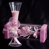 BST Weddings Reception BST Wedding Reception Wedding Decor Pale Pink Rose & Calla Lily Glass Candle Holder