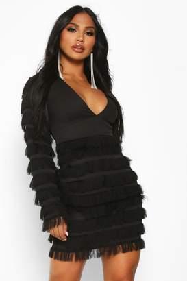 boohoo Fringe Plunge Sleeve Mini Dress