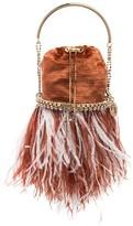 Rosantica Kingham feather crystal velvet bracelet bag