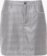 Thumbnail for your product : Ganni Paloma Crystal-embellished Prince Of Wales Checked Silk And Wool-blend Mini Skirt