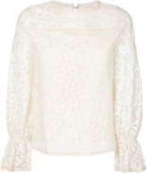See by Chloe floral lace flared cuff top - women - Cotton/Polyamide - 36