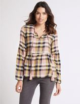 Marks and Spencer Cotton Rich Checked Long Sleeve Blouse