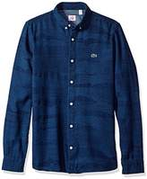 Lacoste Men's Long Sleeve Denim Wood Pattern Jaquard Woven Shirt-CH3118