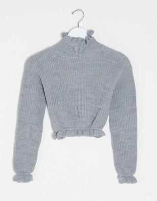 I SAW IT FIRST ruffle hem cropped jumper in grey