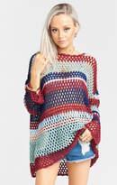 MUMU Paula Pullover Sweater ~ Sunset Crochet Stripe
