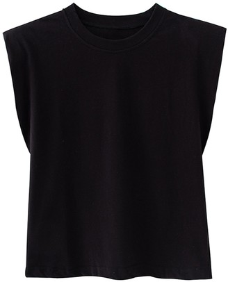 Goodnight Macaroon Emery' Padded Shoulder Sleeveless T-shirt (6 Colors)