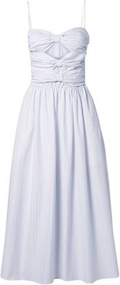 Adam Lippes Cutout Pinstriped Cotton-poplin Midi Dress