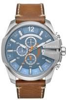 Diesel R) Mega Chief Chronograph Leather Strap Watch, 51mm x 59mm