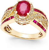 Macy's Ruby (2-3/4 ct. t.w.) and Diamond (1/3 ct. t.w.) Statement Ring in 14k Gold