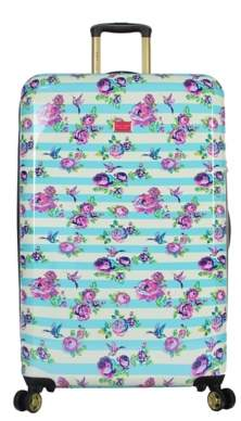 Betsey Johnson Luggage Stripe Floral Hummingbird 30-Inch Checked Hard Shell Luggage