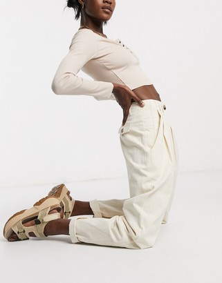 Emory Park high waist pants with turn ups in off white
