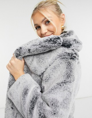 Topshop two tone faux fur jacket in grey