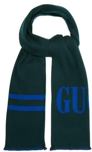Gucci Reversible Logo Jacquard Wool And Silk Blend Scarf - Mens - Blue Multi