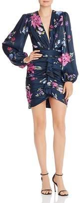 Jill Stuart Ruched Floral-Print Mini Dress