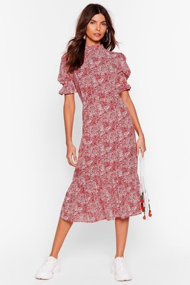 Nasty Gal Womens Ready for Golden Hour Floral Midi Dress - Red - 4, Red