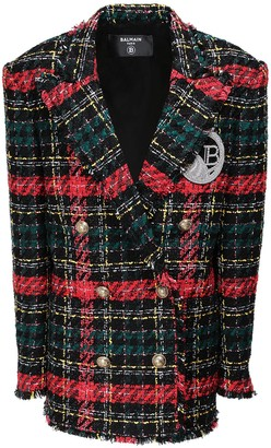 Balmain Tartan Tweed Button Jacket W/ Patch