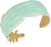 Lucky Brand Gold-Tone Patina Feather Cuff Bracelet