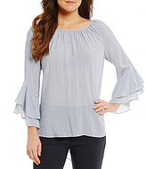 Gibson & Latimer Keyhole-Back Striped Bell Sleeve Blouse