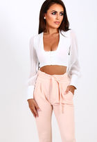 Pink Boutique Word Up White Plunge Long Sleeve Crop Top