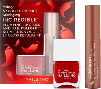 Nails Inc Naughty or Spice Lip Gloss and Nail Polish Set