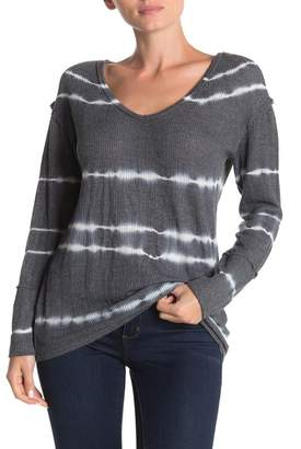 C&C California Tie Dye Stripe Lace Panel Long Sleeve T-Shirt
