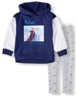 Disney Frozen 2 Glitter Sleeve Velour Hoodie & Printed Leggings, 2pc Outfit Set