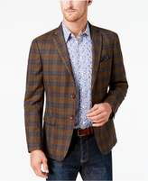 Tallia Men's Big and Tall Slim-Fit Light Brown Multi-Plaid Soft Wool Sport Coat