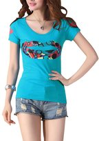 uxcell Women Round Neck Short Sleeve Studded Lips Prints Slim Fit T-Shirt