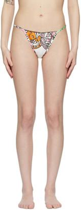 Versace Underwear White Barocco Mosaic Print Thong