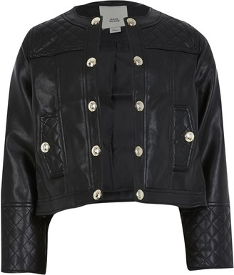 River Island Girls Black faux leather jacket