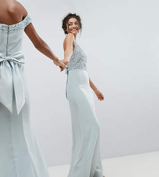 Maya Tall Sleeveless Sequin Bodice Maxi Dress With Cutout And Bow Back Detail-Blue
